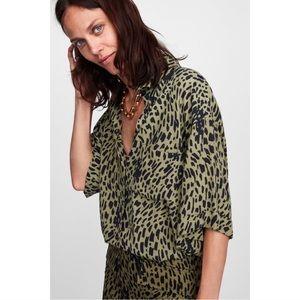 Zara Leopard Button Down